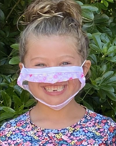 protective face shield and mask with clear window to see lip movement for children in pink